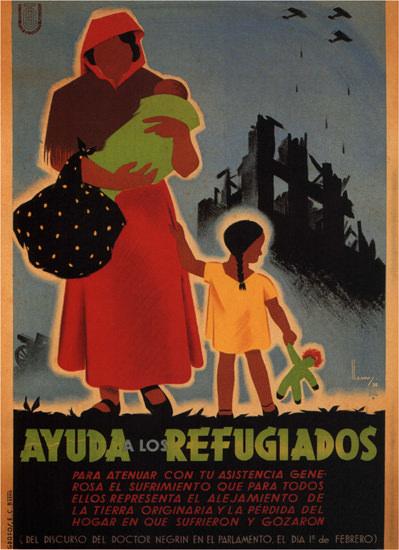 Ayuda A Los Refugiados Spain Espana | Vintage War Propaganda Posters 1891-1970