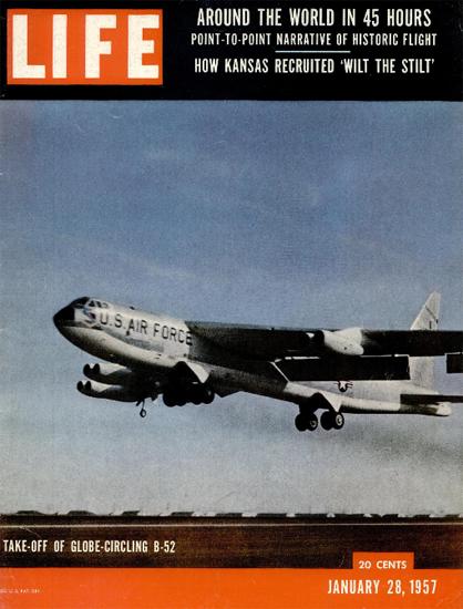 B-52 Bomber Globe Circle in 45 Hrs 28 Jan 1957 Copyright Life Magazine | Life Magazine Color Photo Covers 1937-1970