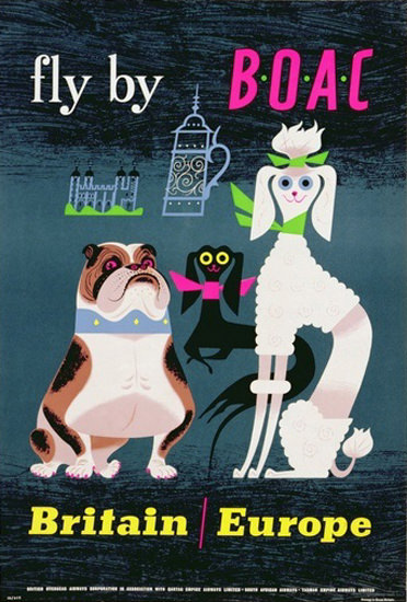 BOAC Fly By Dogs Britain Europe 1962 | Vintage Travel Posters 1891-1970