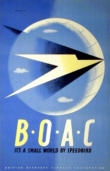 BOAC Its A Small World By Speed Bird Overseas | Vintage Travel Posters 1891-1970