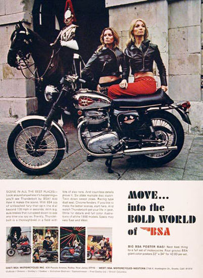 BSA 650 Motorcycle 1968 Bold World Of BSA | Sex Appeal Vintage Ads and Covers 1891-1970