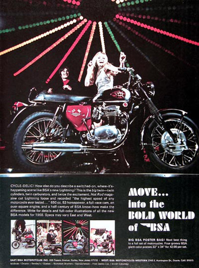 BSA 650 Motorcycle 1968 Move Into Bold World | Vintage Travel Posters 1891-1970