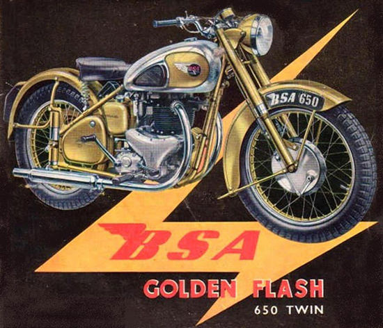 BSA Golden Flash 650 Twin Model 1950 | Vintage Travel Posters 1891-1970