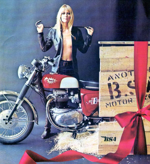 BSA Motorcycle 1967 BSA Pin-Up Girl Blonde | Sex Appeal Vintage Ads and Covers 1891-1970