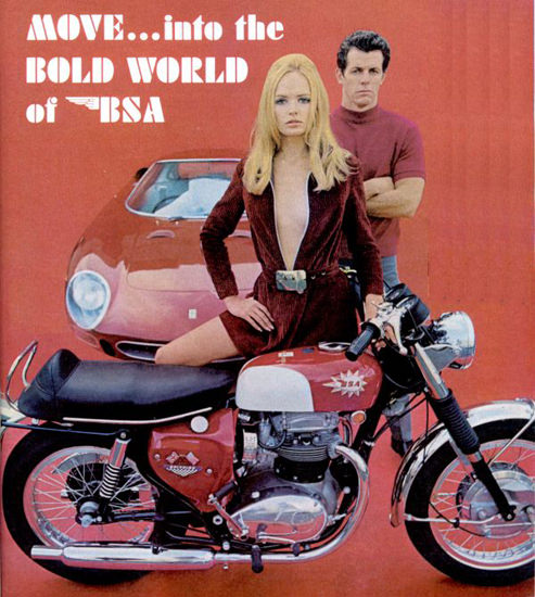 BSA Motorcycle 1968 Girl With Ferrari Bold World | Sex Appeal Vintage Ads and Covers 1891-1970