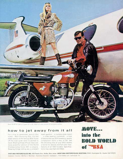 BSA Motorcycle How To Jet Away From All | Sex Appeal Vintage Ads and Covers 1891-1970