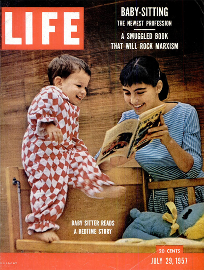 Baby Sitter reads a Bedtime Story 29 Jul 1957 Copyright Life Magazine   Life Magazine Color Photo Covers 1937-1970
