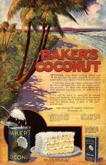 Bakers Coconut Franklin Baker Co Philadelphia | Vintage Ad and Cover Art 1891-1970