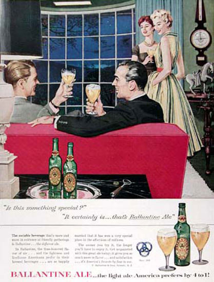 Ballantine Ale 1955 In The Living Room   Vintage Ad and Cover Art 1891-1970