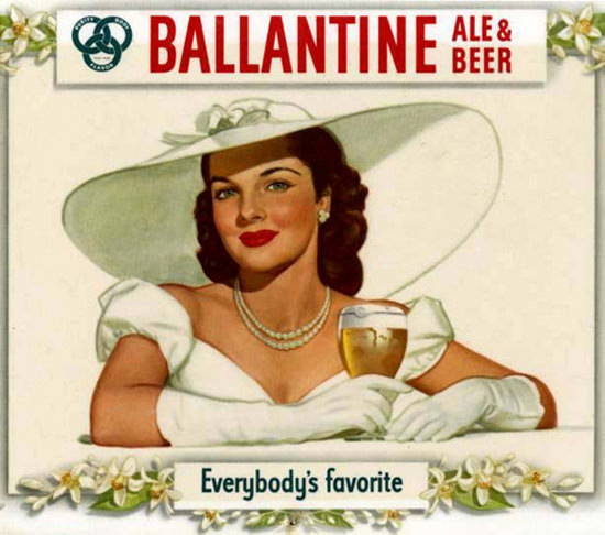 Ballantine Ale And Beer 1948 Brunette With Hut | Sex Appeal Vintage Ads and Covers 1891-1970