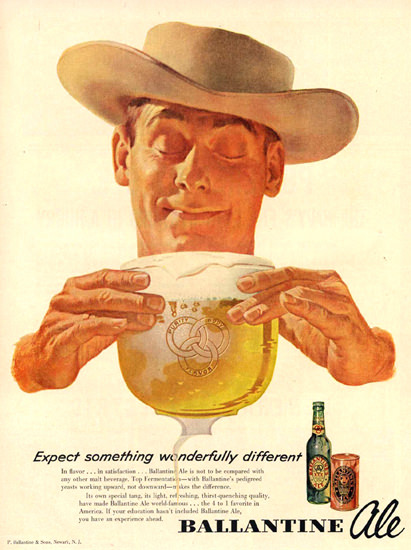 Ballantine Ale Different 1953 Cowboy | Vintage Ad and Cover Art 1891-1970