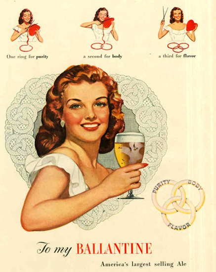 Ballantine Ale Girl 1948   Sex Appeal Vintage Ads and Covers 1891-1970