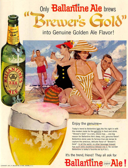 Ballantine Ale On The Beach 1957 | Sex Appeal Vintage Ads and Covers 1891-1970