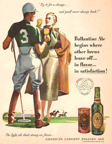 Ballantine Ale Polo Player And His Girl 1951 | Sex Appeal Vintage Ads and Covers 1891-1970