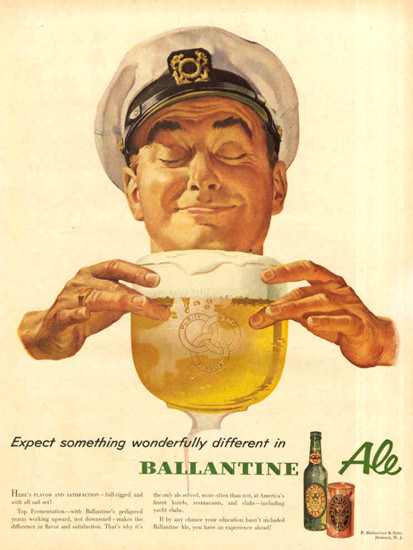 Ballantine Ale Wonderfully Different 1953 Captain | Vintage Ad and Cover Art 1891-1970