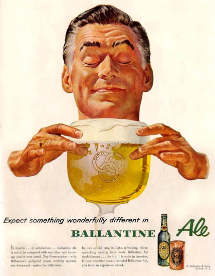 Ballantine Ale Wonderfully Different 1953   Vintage Ad and Cover Art 1891-1970