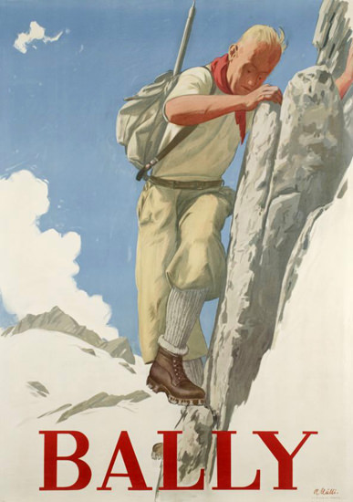Bally Shoes Switzerland 1946 Mountain Climber | Vintage Ad and Cover Art 1891-1970