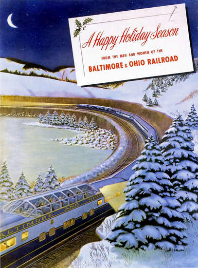 Baltimore And Ohio Railroad Christmas 1949 | Vintage Travel Posters 1891-1970
