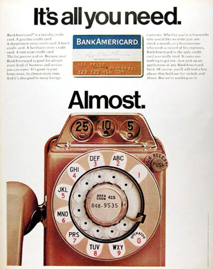 Bank Americard 1970 Its All You Need | Vintage Ad and Cover Art 1891-1970