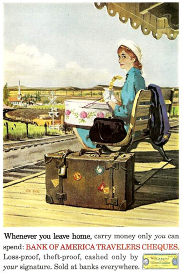 Bank Of America Traveler Cheques Hat Box | Sex Appeal Vintage Ads and Covers 1891-1970