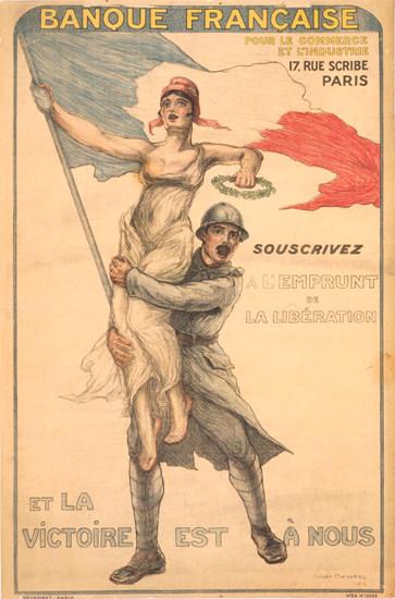 Banque Francaise Souscrivez Emprunt Liberation | Vintage War Propaganda Posters 1891-1970