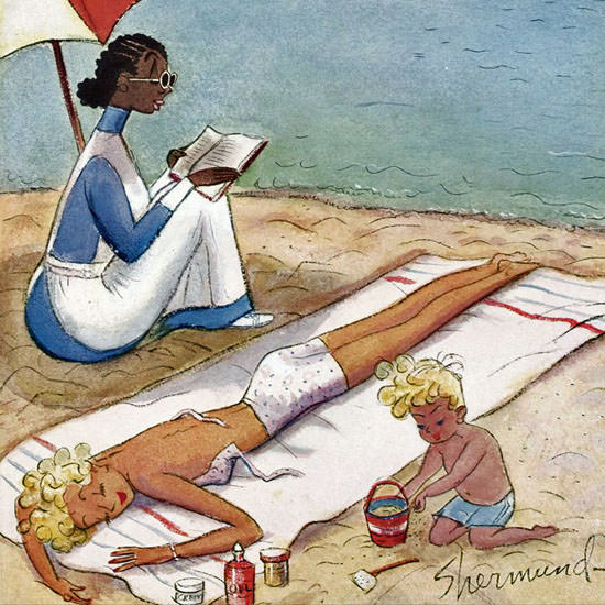 Barbara Shermund The New Yorker 1944_08_05 Copyright crop | Best of 1940s Ad and Cover Art