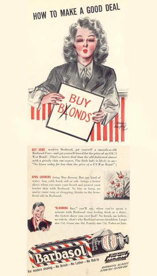 Barbasol Buy Blonds Buy Bonds 1943 | Vintage War Propaganda Posters 1891-1970