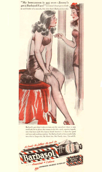 Barbasol Jimmys Honeymoon 1946 | Sex Appeal Vintage Ads and Covers 1891-1970