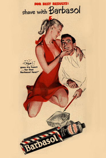 Barbasol Shaving Cream 1948 Pin-Up Girl What | Sex Appeal Vintage Ads and Covers 1891-1970