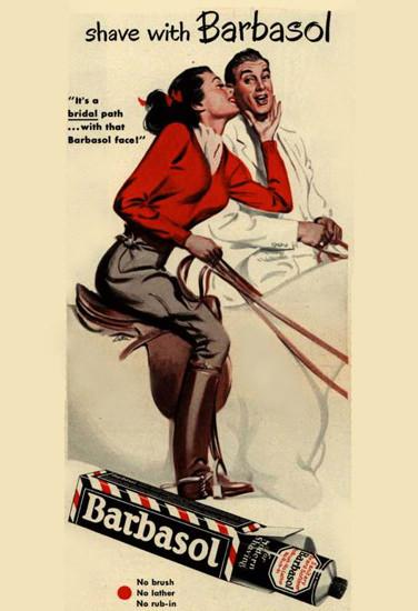 Barbasol Shaving Cream Horseback Riding 1949 | Sex Appeal Vintage Ads and Covers 1891-1970
