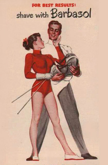 Barbasol Shaving Cream Pin-Up Foil Fencing 1949 | Sex Appeal Vintage Ads and Covers 1891-1970