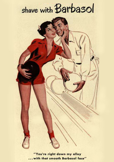 Barbasol Shaving Cream Pin-Up Girl Bowling 1949 | Sex Appeal Vintage Ads and Covers 1891-1970
