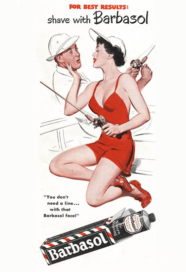 Barbasol Shaving Cream Pin-Up Girl Fisherman 1956 | Sex Appeal Vintage Ads and Covers 1891-1970