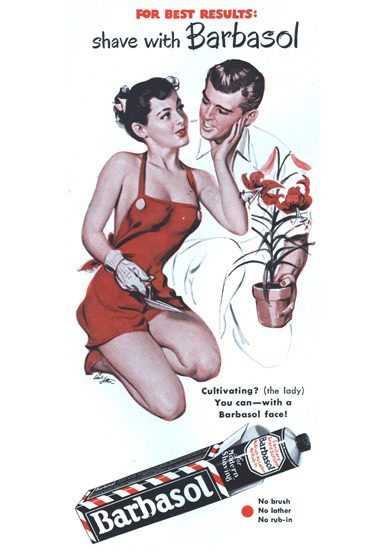 Barbasol Shaving Cream Pin-Up Girl Gardening | Sex Appeal Vintage Ads and Covers 1891-1970
