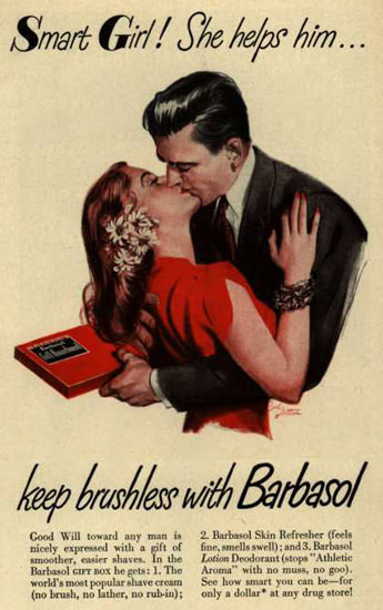 Barbasol Shaving Cream Pin-Up Girl Kissing 1947 | Sex Appeal Vintage Ads and Covers 1891-1970