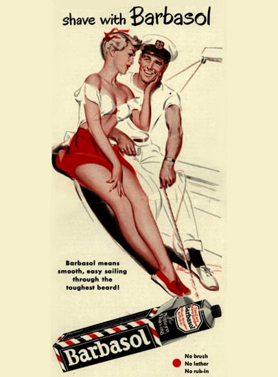 Barbasol Shaving Cream Pin-Up Girl Yachting 1950 | Sex Appeal Vintage Ads and Covers 1891-1970