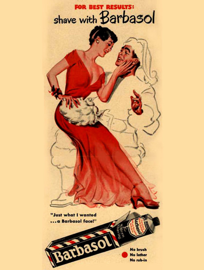 Barbasol Shaving Cream Pin-Up Santa Claus 1949 | Sex Appeal Vintage Ads and Covers 1891-1970