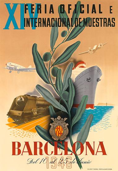 Barcelona 1946 Feria Oficial E Int De Muestras | Vintage Travel Posters 1891-1970