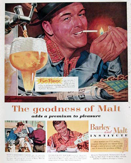 Barley And Malt Institute 1959 Beer And Pretzel | Vintage Ad and Cover Art 1891-1970