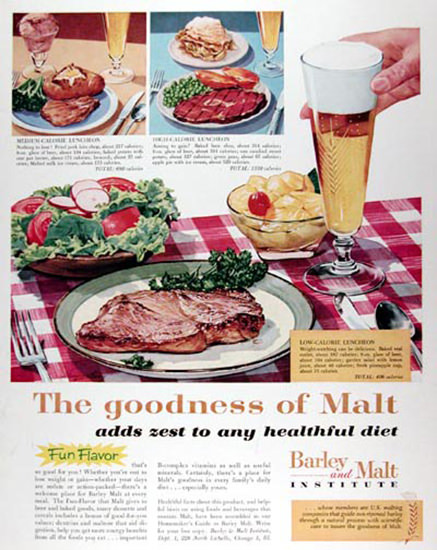 Barley And Malt Institute 1959 Healthful Diet | Vintage Ad and Cover Art 1891-1970
