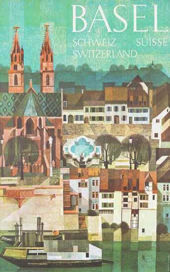Basel Schweiz Suisse Switzerland Cathedral 1958 | Vintage Travel Posters 1891-1970
