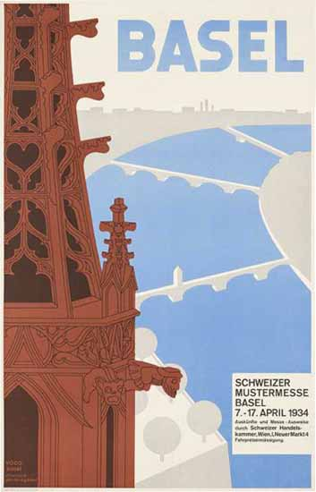 Basel Schweizer Mustermesse Swiss Fair Switzerland 1934   Vintage Travel Posters 1891-1970