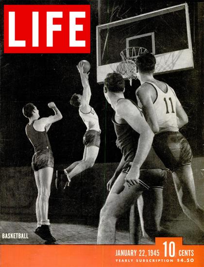 Basketball 22 Jan 1945 Copyright Life Magazine   Life Magazine BW Photo Covers 1936-1970