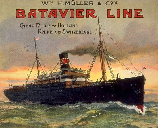 Batavier Line Holland Rhine And Switzerland | Vintage Travel Posters 1891-1970
