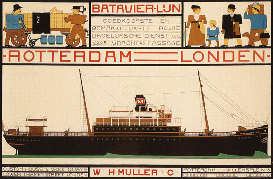 Batavier-Lun Rotterdam London Steamer | Vintage Travel Posters 1891-1970
