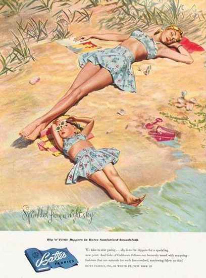 Bates Fabrics Night Sky Girls On The Beach | Vintage Ad and Cover Art 1891-1970