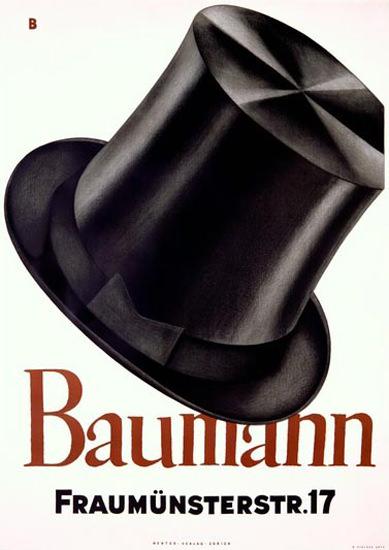 Baumann Zuerich Schweiz Top Hat Baumberger | Sex Appeal Vintage Ads and Covers 1891-1970
