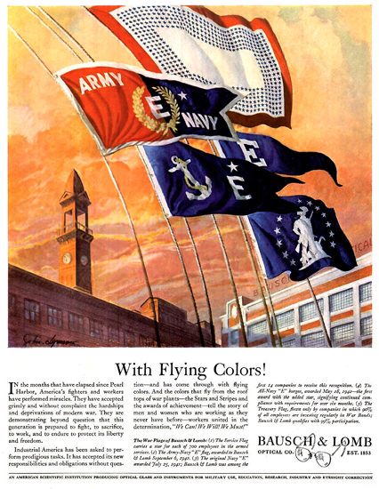 Bausch Lomb With Flying Colors | Vintage War Propaganda Posters 1891-1970