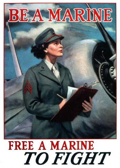 Be A Marine Free A Marine To Fight | Vintage War Propaganda Posters 1891-1970