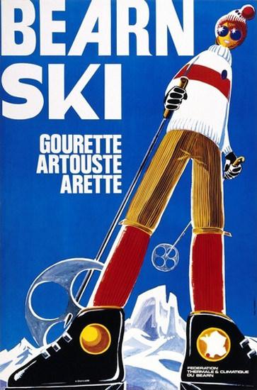 Bearn Ski Gourette Artouste Arette   Vintage Travel Posters 1891-1970